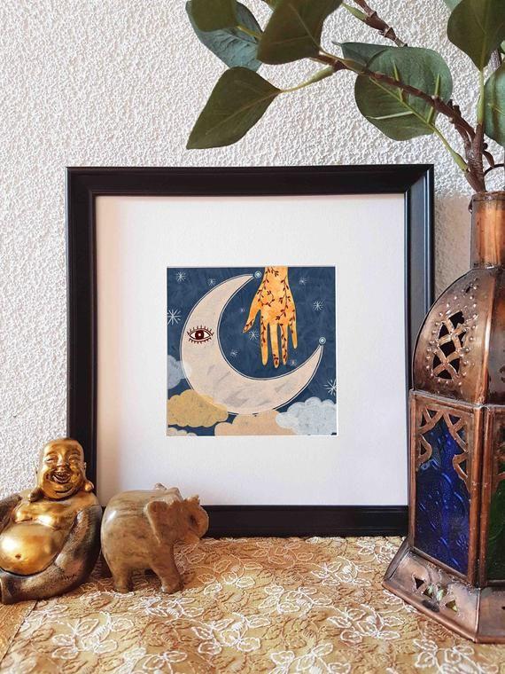 Artprint spirituellen Mond | Yoga-Kunst | Boho | Henna Hand | Auge | Boho-Stil | Mond | Yogistyle | Sternenhimmel | Mondschein | Nachthimmel