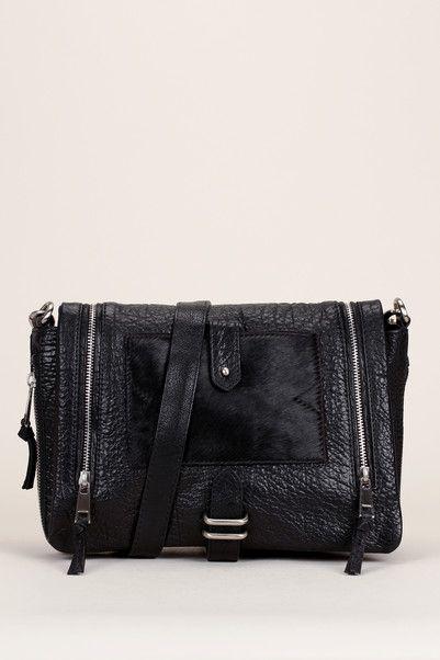 Besace cuir bubble noir avec pochette amovible New Griffin - Shine Blossom