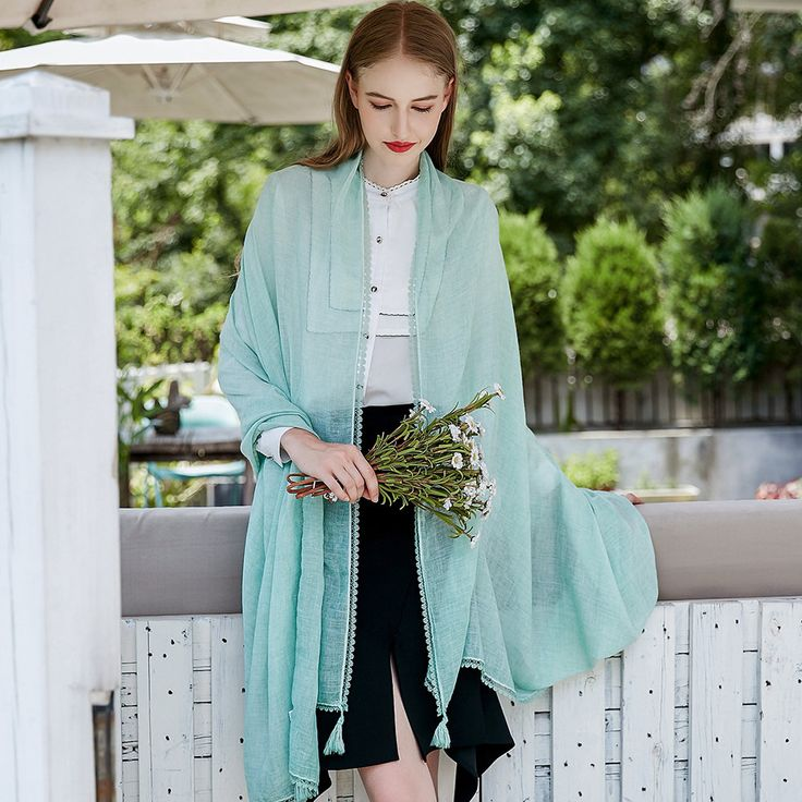 Women Solid Color Cotton Linen Scarves With Lace Fringe Sunshade Thin Shawl Scarf online - NewChic