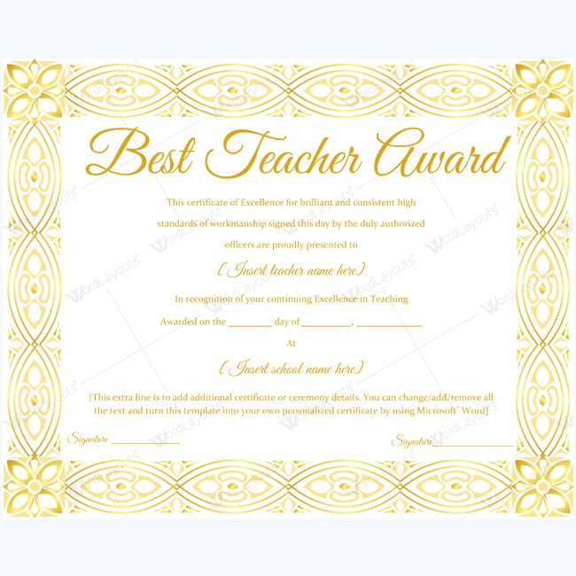 Best teacher award certificate templates 14 best teacher award certificate 15 yelopaper Images