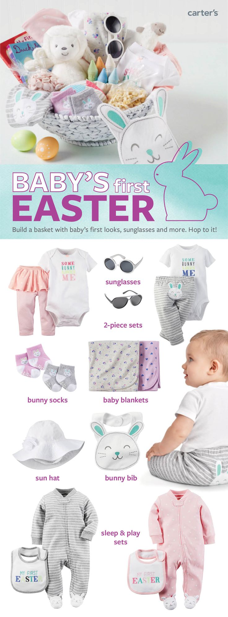 Las 25 mejores ideas sobre baby easter basket en pinterest fill babys first easter basket with easy outfit sets supersoft bodysuits sunglasses books negle Gallery