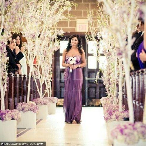 #weddingdecoratins #wedding #church #trees #flowers #white #purple #rustic #edgy