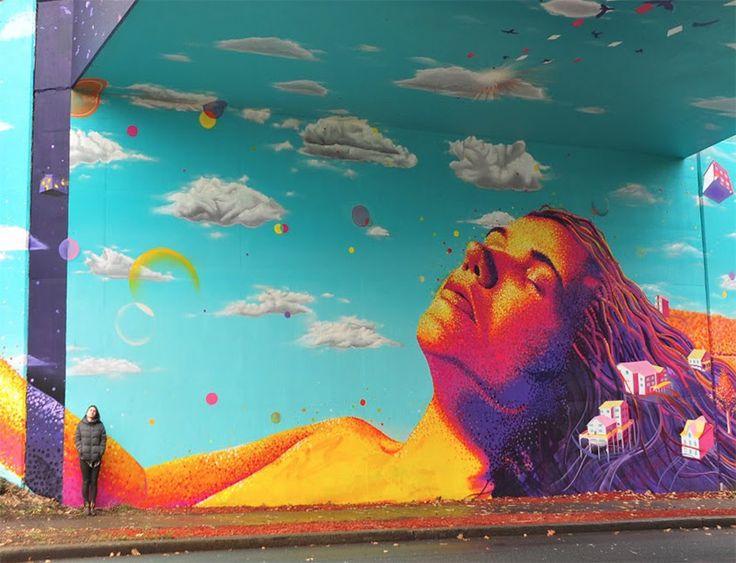 Best Art Illustration Images On Pinterest Art - Artist paints incredible seaside murals balanced on surfboard