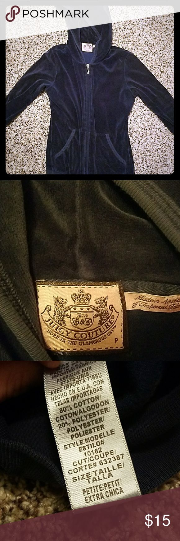 Juicy Couture terry zip up jacket. Great condition.  No stains.  I believe this is petite size extra small or small. It is too small for me. Dark blue. Great price. Juicy Couture Tops Sweatshirts & Hoodies
