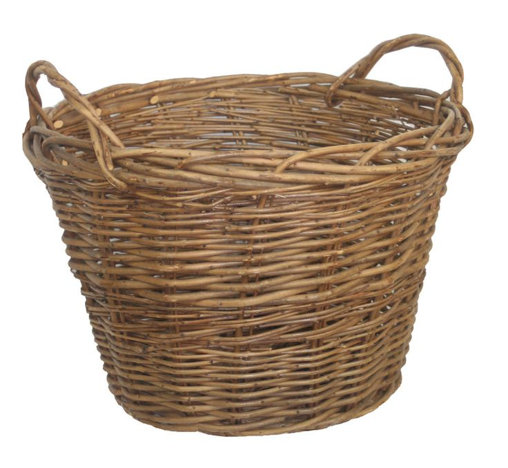 GREEN ASH WILD WILLOW WICKER LOG STORAGE BASKET ROUND LINED FIRESIDE WOOD STUDY