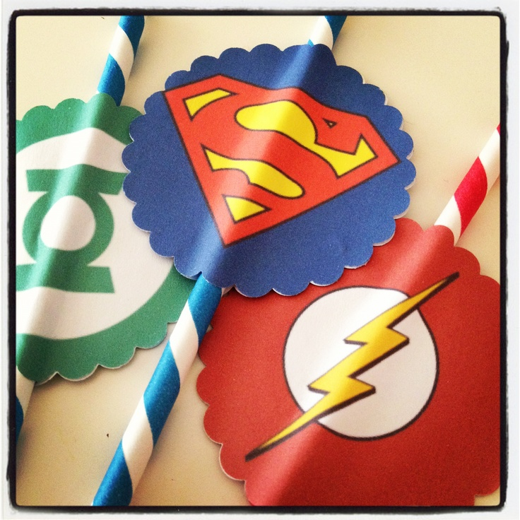 Super hero party straws