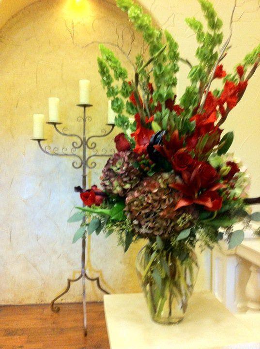 Large Vase arrangement  antique hydrangea bells of ireland gladiolas and rosesAnns