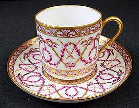 Beautiful Antique Sevres Demitasse Cup  Saucer