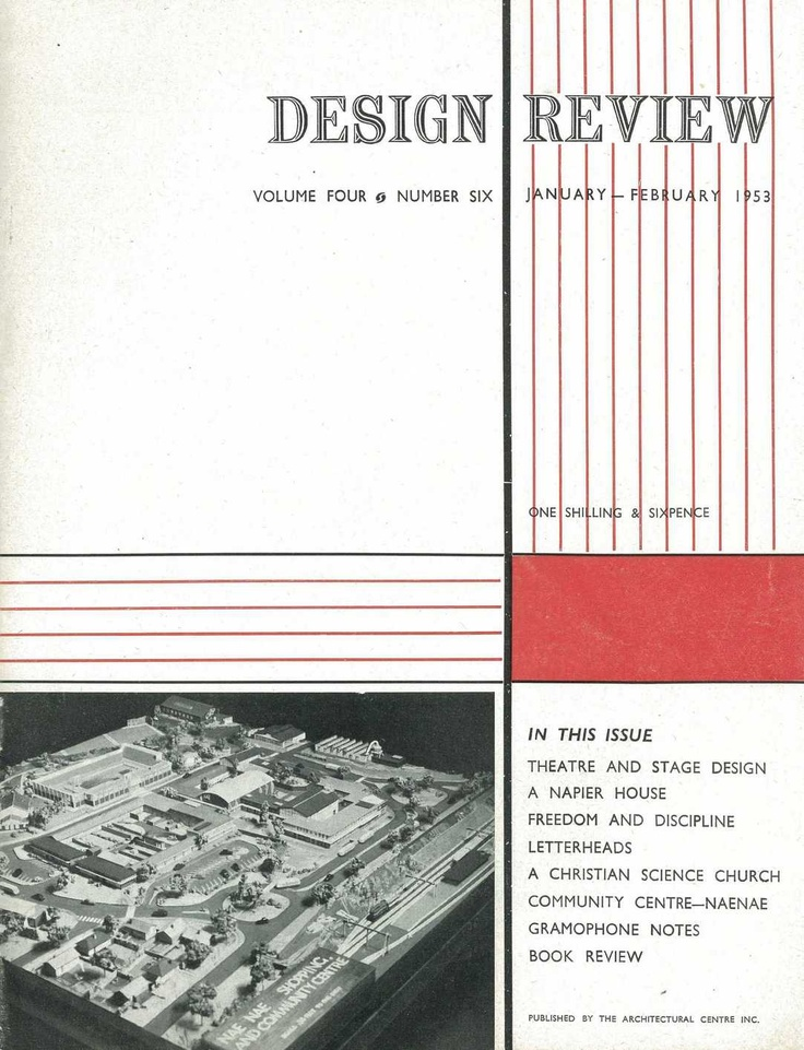 Cover of 'Design Review': Volume 4, Issue 6, published by The Wellington Architectural Centre, January - February 1953.