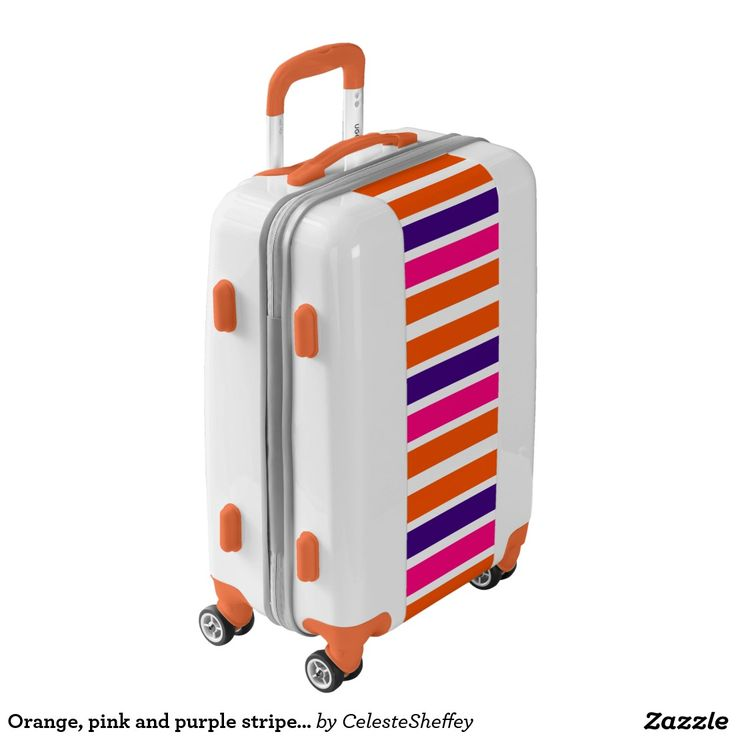 Orange, pink and purple striped carry-on luggage