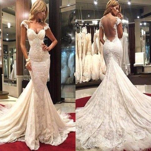 Sweetheart Mermaid Wedding Dress Sheath backless Cap Sleeve Vestido De Noiva Court Train Lace Appliques Custom XW2
