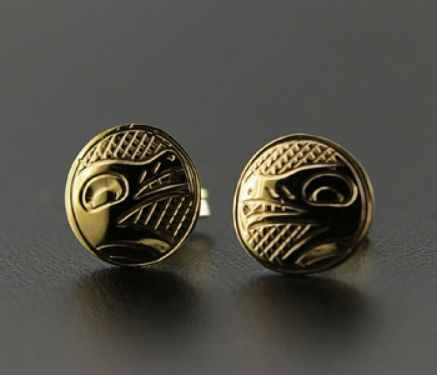 These distinctive and completely unique 14-karat gold studs are hand-carved and measure 1/4 inch in diameter. Created with symbols that represent the primary family crest figures found within British Columbian Native culture, these studs are wonderful for daily wear OR dress. They can be engraved with the following symbols: Orca (unity and communication), Eagle (pride and friendship), or Wolf (family). $180. By Justin Rivard.