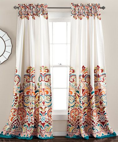 Look at this #zulilyfind! Turquoise & Tangerine Clara Curtain Panel - Set of Two #zulilyfinds