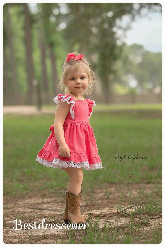 Coral Toddler Dress - Little Girl Pinafore - Toddler Twirl Dress - Flutter Sleeve Dress - Birthday Party Dress - Baby Special Occasion Dress