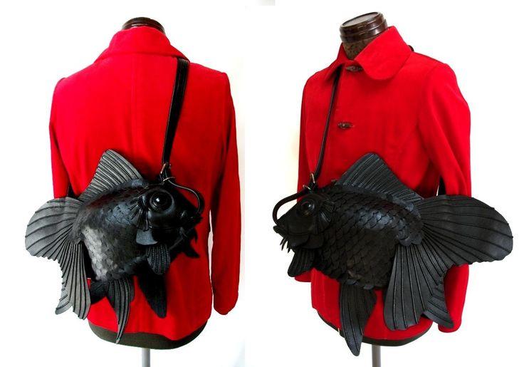 スムース革金魚バッグ(大)A black goldfish purse- I need this