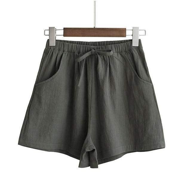 2019 baumwolle leinen shorts frauen sommer shorts hose feminino frauen hohe elastische wasit hause lose beiläufige shorts mit taschen   – Products
