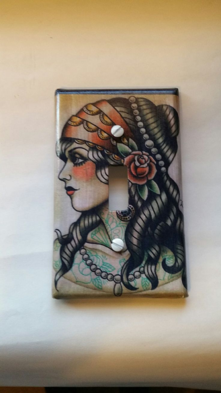 Traditional Gypsy Tattoo Flash Art Switch Plate by funkyframesandcrafts on Etsy