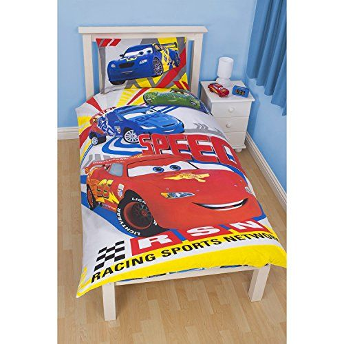 Disney Cars Childrens Boys Speed Reversible Twin Comforter Cover Bedding Set Twin Multicoloured