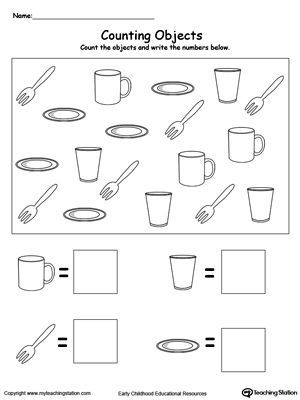 **FREE** Count and Write the Number of Objects Worksheet. Help your child practice counting and writing numbers by looking at each object, counting and writing down the number of objects they see. #MyTeachingStation