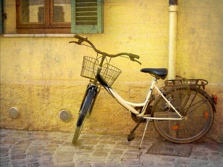 'Bicycle on Yellow Wall' by artskratches on artflakes.com as poster or art print $22.17