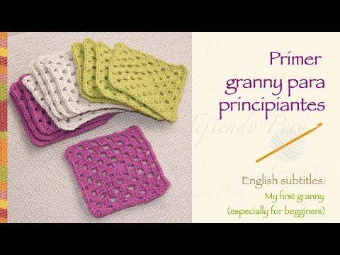 Crochet granny for beginners! / Primer granny tejido a crochet para prin...
