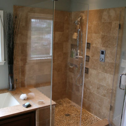 1000 images about tile shower ideas on pinterest stand for Rectangular bathroom designs