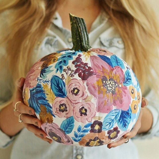 Check out this gourd geous floral pumpkin Flower painted pumpkins