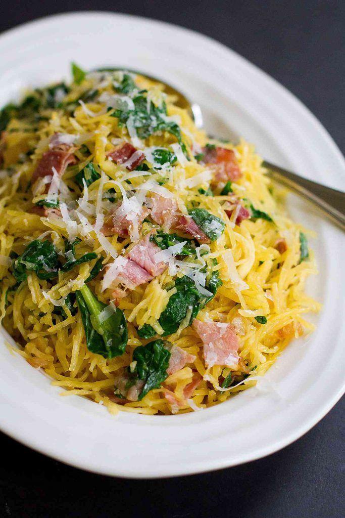 Spaghetti Squash with Prosciutto & Spinach {#VegItUp}