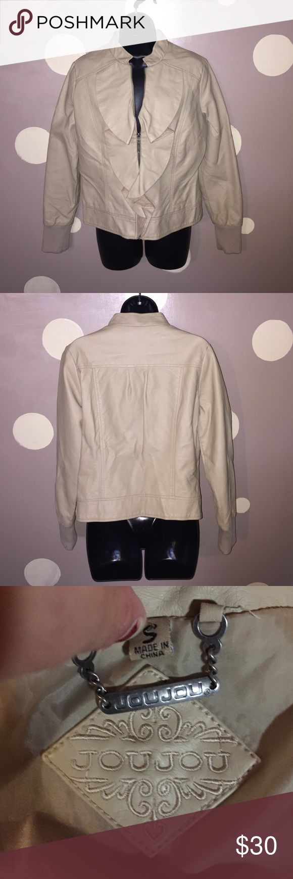 Feminine juju tan bomber jacket Tan bomber jacket with ruffled accent up the middle. In good condition. Lying flat and unstretched bust roughly measures 18 inches length 22 1/2 inches sleeve 25 inches Jou Jou Jackets & Coats