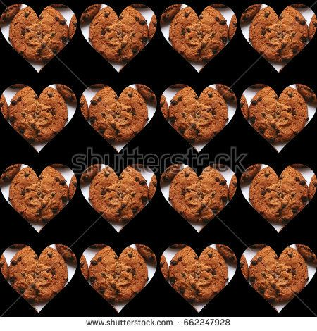 #Black #background full of #heart #shapes, each filled with one #chocolate #chips #cookie