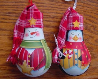 I just love these. They reuse spent lightbulbs, and could be made with any size bulb. I can imagine a few of these showing up on my Christmas tree this year.