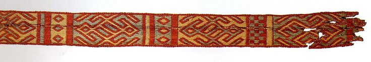 card-band-chelles-2. These bands were found with the bones of Bathilde.  These two bands are in wool, both with three colors. It is commonly considered to be similar to the Snartemo Grave V weavings.