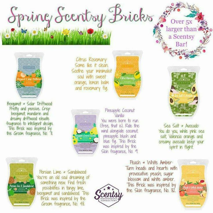 Spring Scentsy Bricks are available for a limited time.  Bricks are equal to about 5 bars of wax. These scents are available only in brick size. https://gretajansen.scentsy.us/shop/c/4393/spring-scentsy-bricks