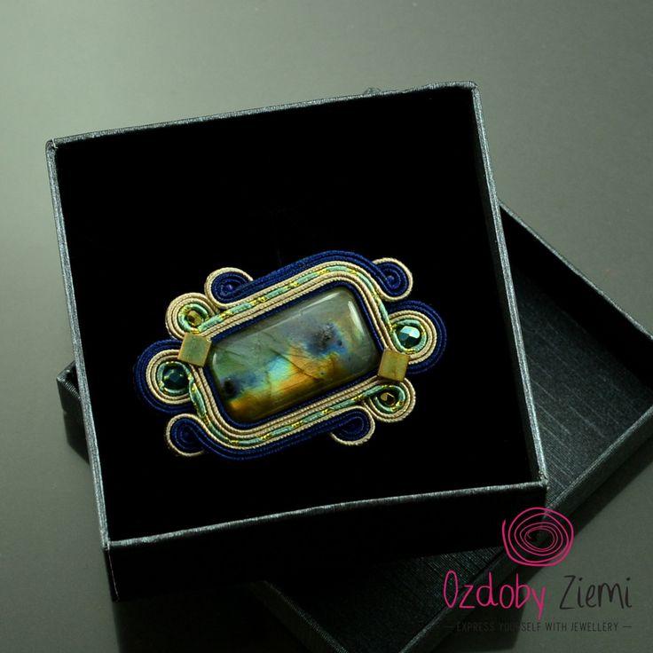 Soutache brooch 'Mata Rafon', labradorite brooch, handmade brooch, gemstone brooch, soutache embroidery, navy blue brooch, green brooch by OzdobyZiemi on Etsy