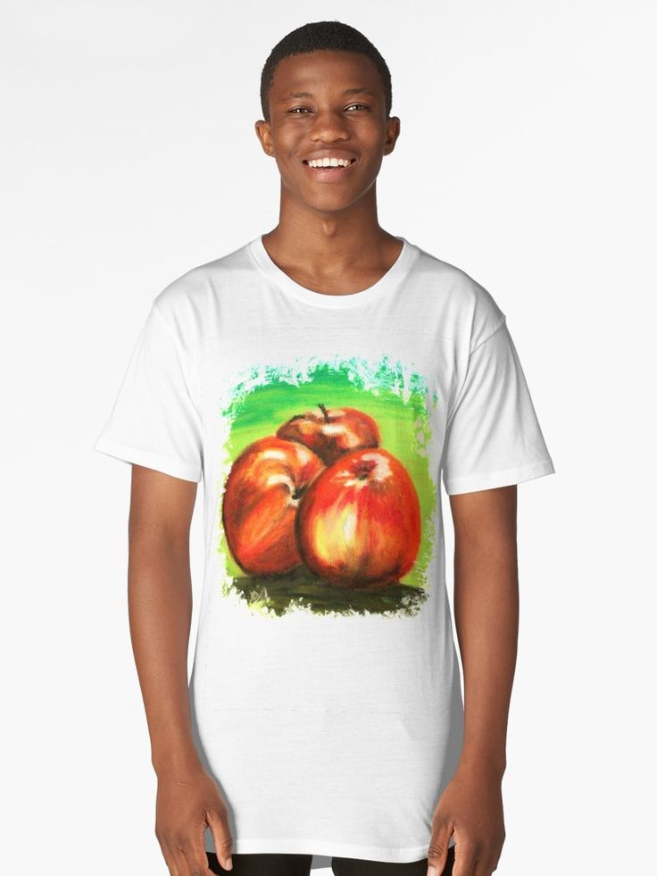 'Three Red Apples' - Long tee shirt @redbubble  #redbubblecreate #apples #fruit #fashion #cooltees #redapples #stilllife #paintings #art #artist #artworks #artfashion #drawings #greenandred #redbubble #longtshirt #new