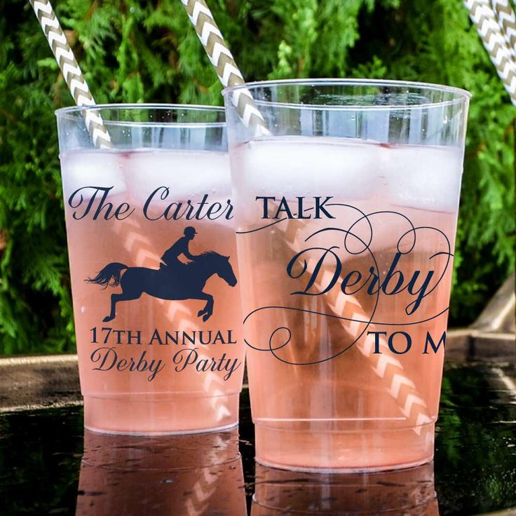 Talk Derby to Me Custom Party Cups, Personalized Hard Plastic Cups, Kentucky Derby Cups, Kentucky Derby Party, Derby Party Favors by GraciousBridal on Etsy https://www.etsy.com/listing/518697555/talk-derby-to-me-custom-party-cups