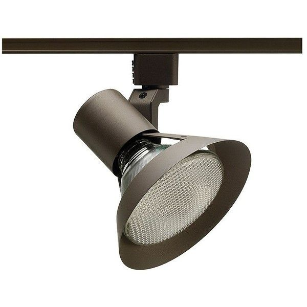 Juno Trac-Lites PAR38 Bronze Flared Gimbal Spotlight (£28) ❤ liked on Polyvore featuring home, lighting, brown, track lighting, arrow lighting, bronze lighting, contemporary lamps, bronze track light and juno track lighting