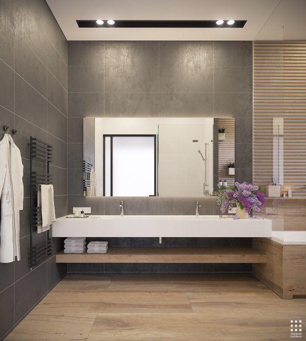 Modern bathroom with wood elements