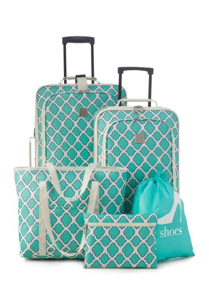 New Directions 174 5 Piece Turquoise Trellis Luggage Set Luggage Pinterest Turquoise Bag And