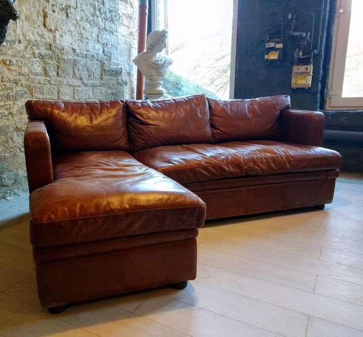 353 Chesterfield leather tan vintage distressed cigar brown Corner Sofa suite   eBay