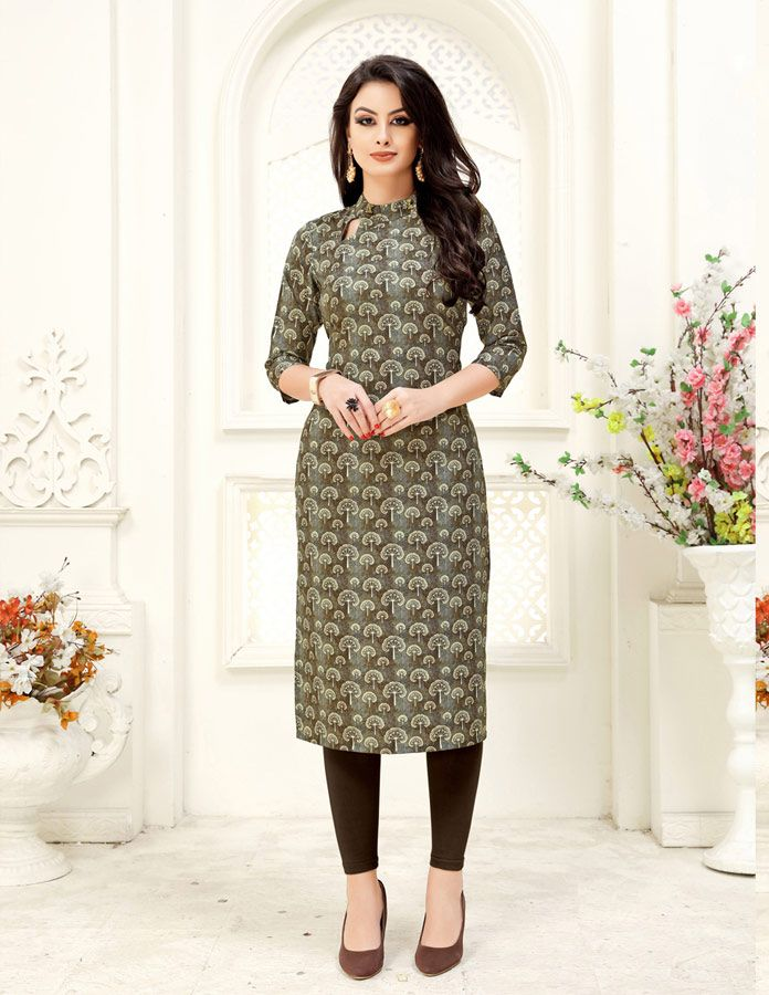 b75862c3c3 Magnificent Grey Crepe Readymade Kurti in 2019 | Designer Kurtis | Kurti,  Tunic, How to wear