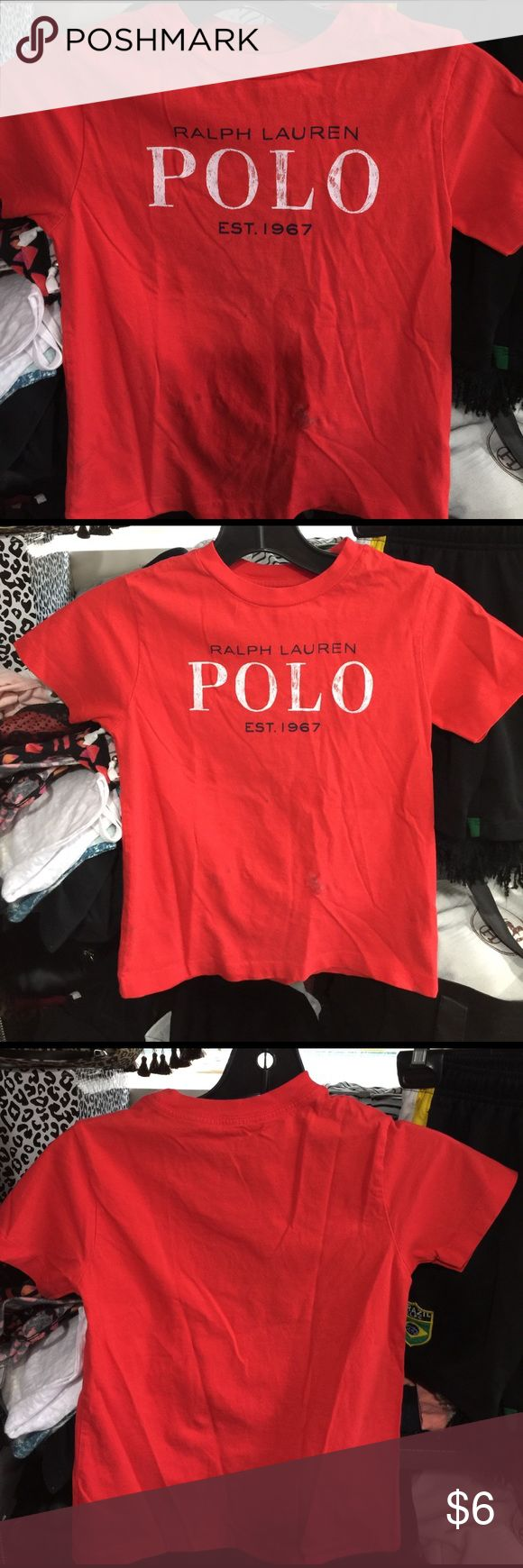Red polo shirt by viviglam 👕👕 Super cute red polo shirt has some spots can be dry clean or use stain remover still great top to use !!! Polo by Ralph Lauren Shirts & Tops Polos