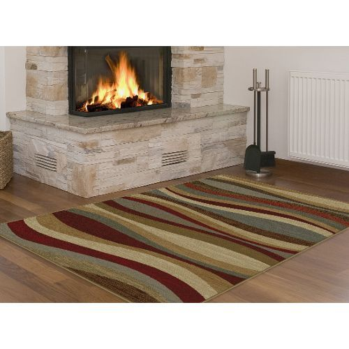 8 X 10 Large Red Gray Blue And Beige Area Rug