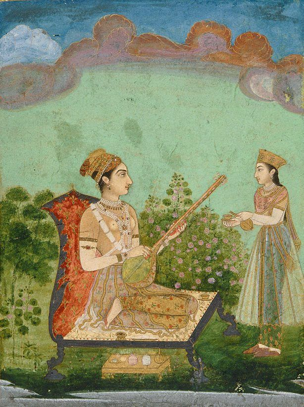 Lady playing a vina with a maid in attendance Bijapur, Deccan, India  circa 1720-1750