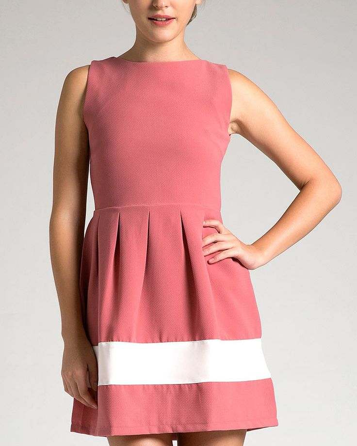 Camilla Dress by Look boutique. As sweet as candy this sweet pink dress with a wide white stripes on the bottom, made from viscose fabric, sleeveless, zipper on the back, this sweet dress will make you look sweeter. http://www.zocko.com/z/JE9lE