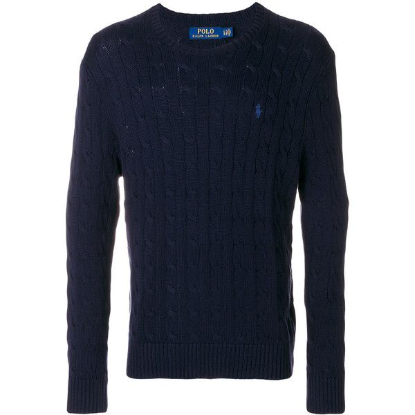Polo Ralph Lauren cable knit sweater ($144) ❤ liked on Polyvore featuring men's fashion, men's clothing, men's sweaters, blue, mens chunky cable knit sweater, mens blue sweater, mens cable sweater, polo ralph lauren mens sweater and mens cable knit sweater