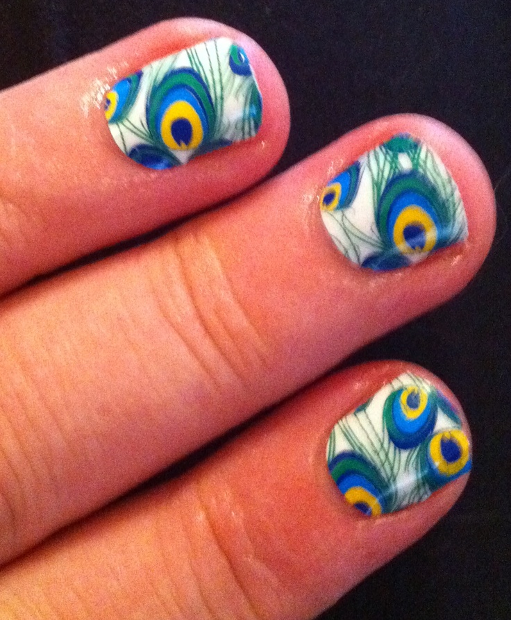 So obsessed with Jamberry Nails!!! Peacock www.jamnail.com