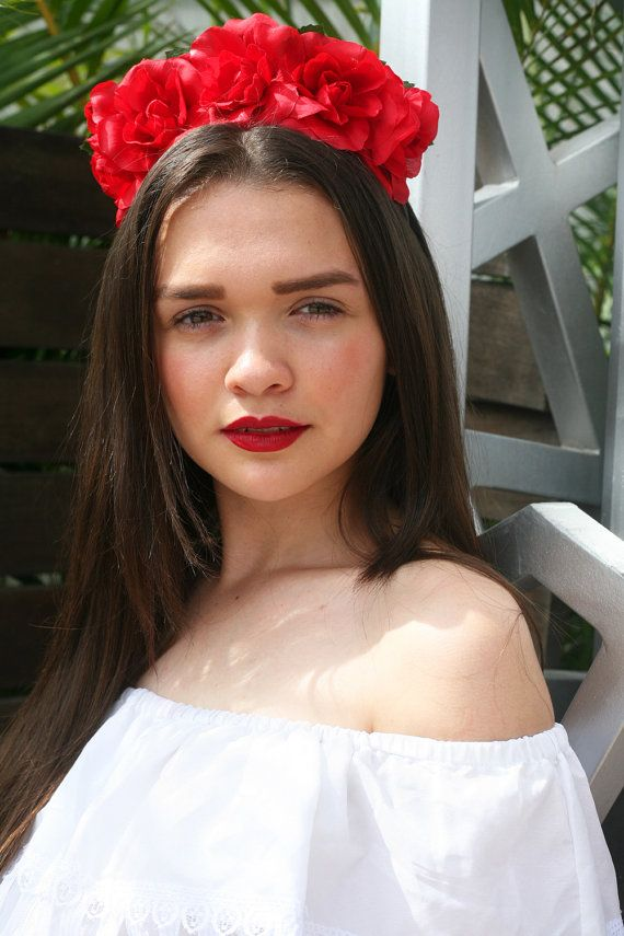 Red Rose Flower Crown Headband Mexican Winter Wedding