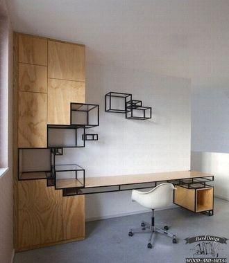 Рабочий стол с полками из дерева и металла на заказ по Вашим размерам и проектам