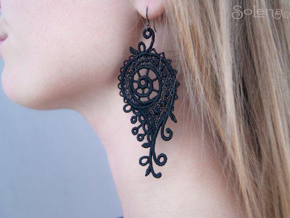 Lace earrings Snails/ dangle earrings // statement by SoLenaRU